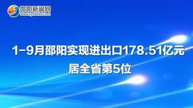 图解:1-9月皇冠体育在线:实现进出口178.51亿元  居全省第5位